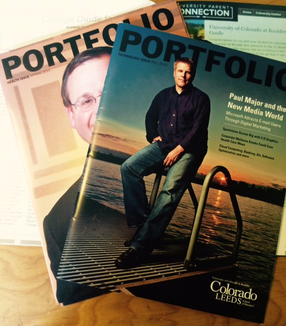 Portfolio  magazine is a publication of the University of Colorado at Boulder at Colorado LEEDS School of Business. I wrote and edited articles on alumni, students, professors, research and school happenings. Click  here ,  here  and  here  to view issues.