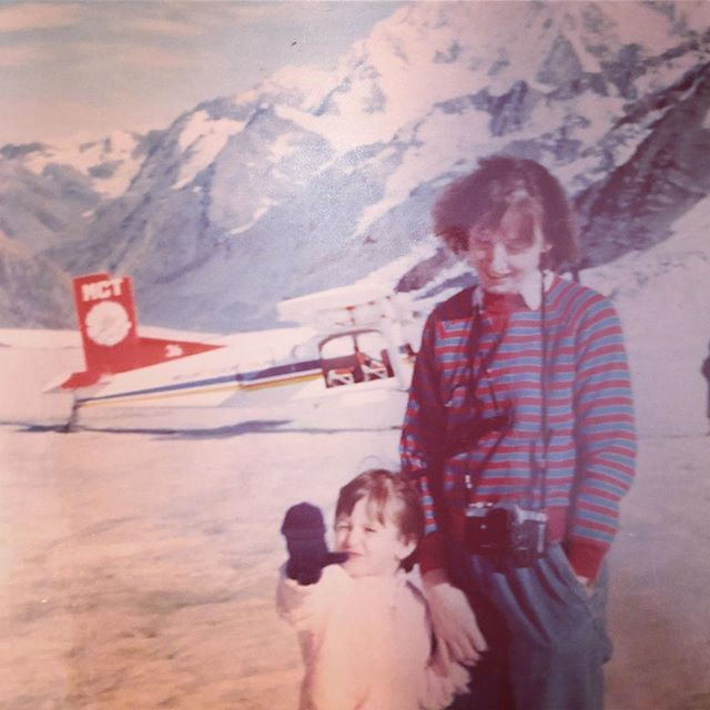 Happy Mother's Day to this adventurous lady! Mt. Cook, Tasman Glacier, New Zealand circa 1989.