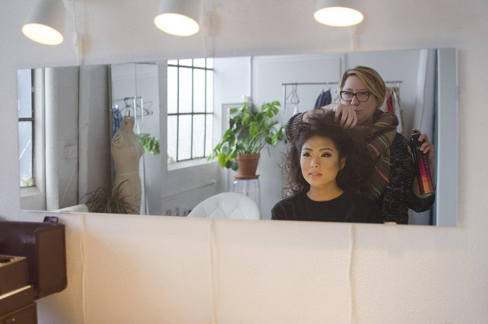 Sarah Thomas & Erica Leong by Sara Ranlett Portraits doing Hair at Sara Ranlett Portraits Seattle