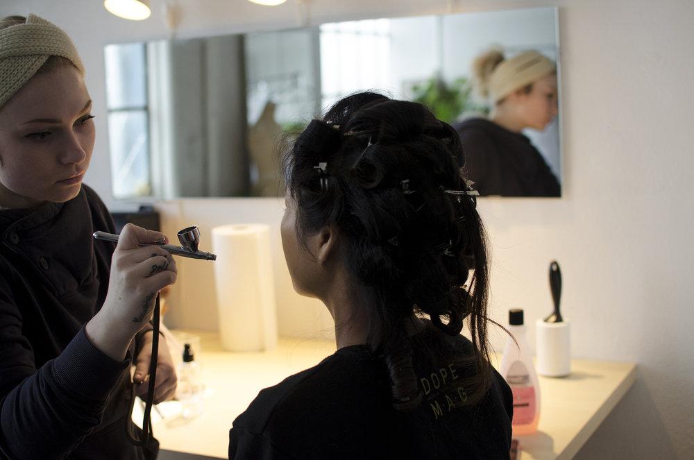 Hannah Evant & Erica Leong preparing make-up by Sara Ranlett at Sara Ranlett Portraits