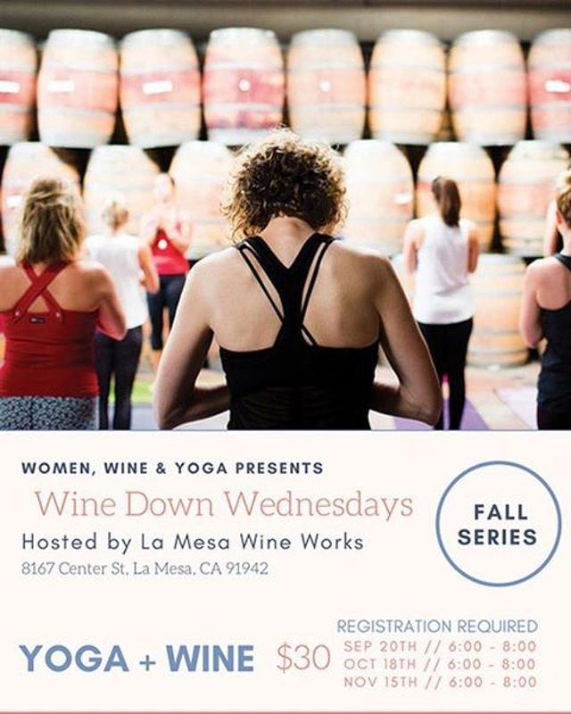 Yay! #winedownwednesday time @lamesawineworks !!! Yoga + wine tasting + food truck! Class taught by the amazing @ambroyogini - Click link in bio to purchase your tickets today!!