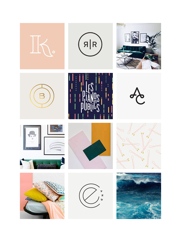 MOOD BOARD 1:  NEUTRAL, AIRY, SIMPLE SANS SERIF FONTS AND PLAYFUL PATTERNS