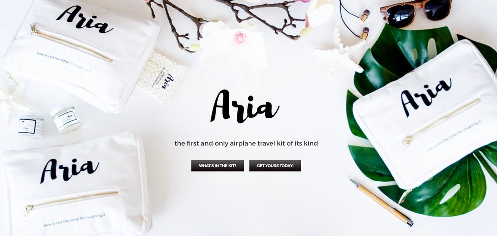 Image of Aria's homepage - with a clear message and a call to action