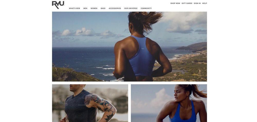 RYU uses strong images and videos to explain what they offer. The video on the landing page shows a tough, strong woman running whilst wearing their gear - exactly who they sell to and what their product is intended for!