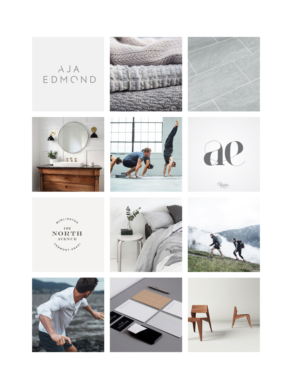 MOOD BOARD 1:  NEUTRAL, AIRY, LIGHT & FRESH TONES, SIMPLISTIC DESIGN, MIX OF TRADITION AND MODERNITY, ELEGANT, SLEEK & MODERN TYPOGRAPHY
