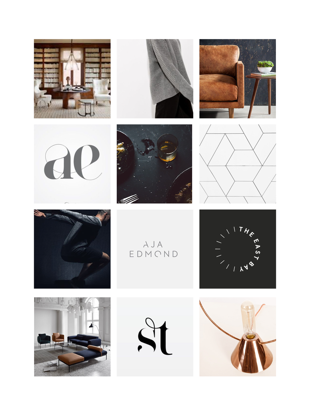 MOOD BOARD 3:  RICH, BLUE TONED, COPPER HIGHLIGHTS, LUXURY, NEUTRAL, MODERN, SLEEK, BOLD TYPOGRAPHY