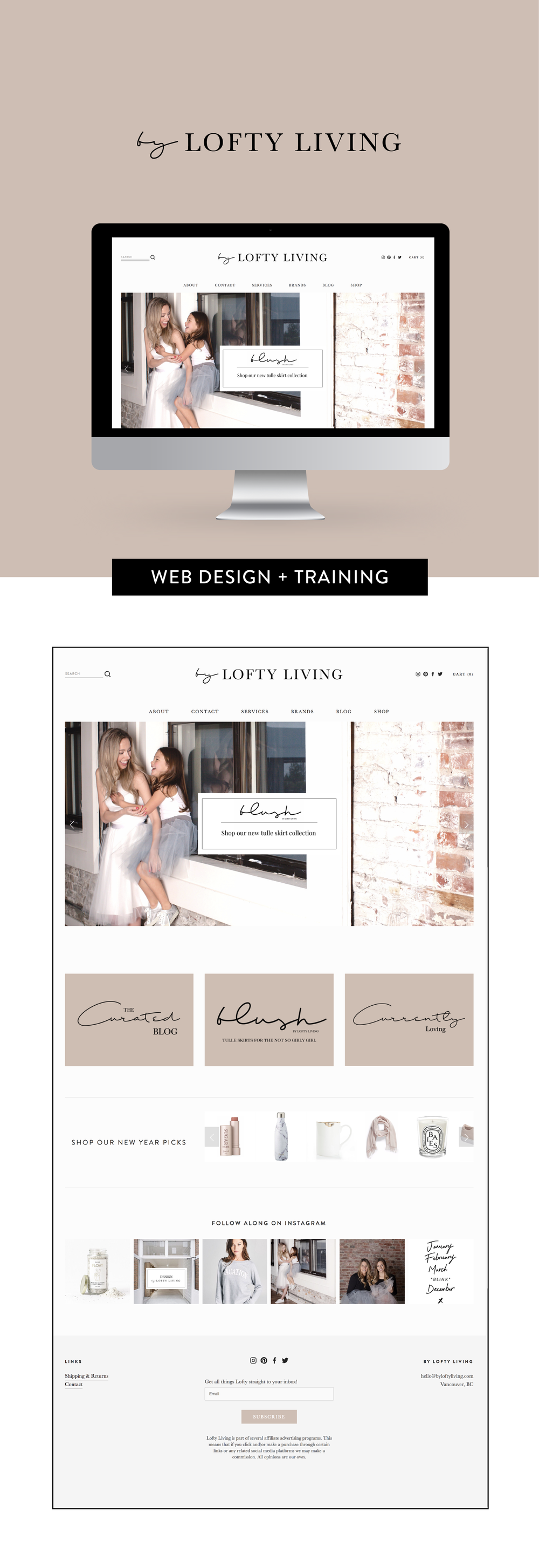 Web design and set up for By Lofty Living by Salt Design Co. in Vancouver BC