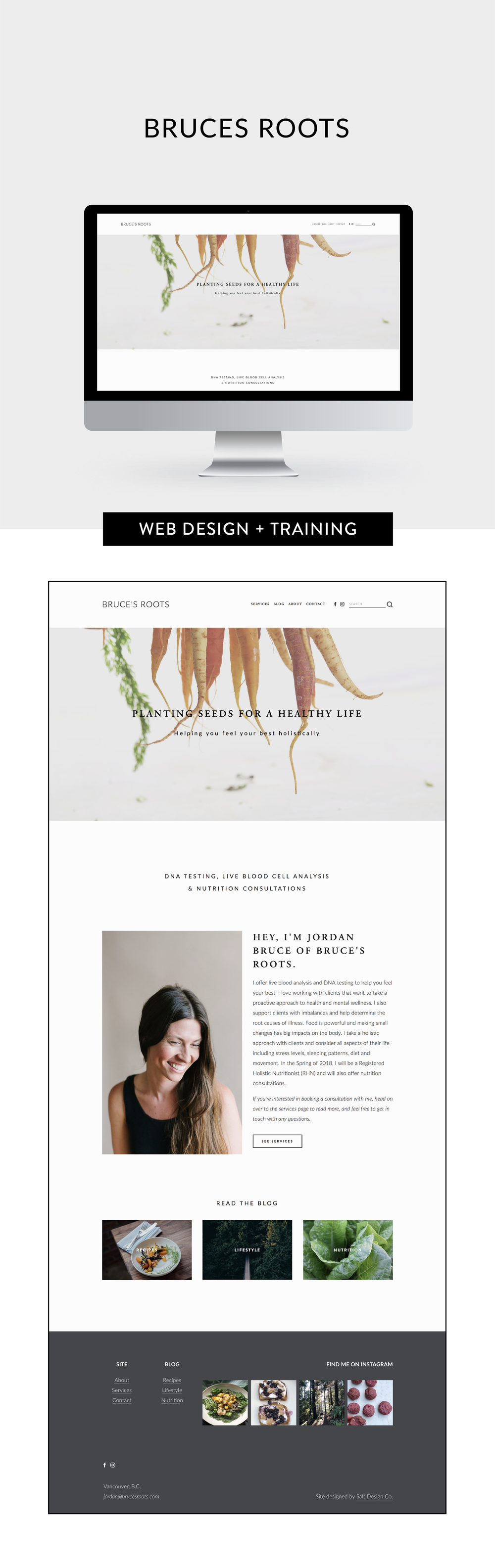 Web design and set up for Bruces Roots by Salt Design Co. in Vancouver BC