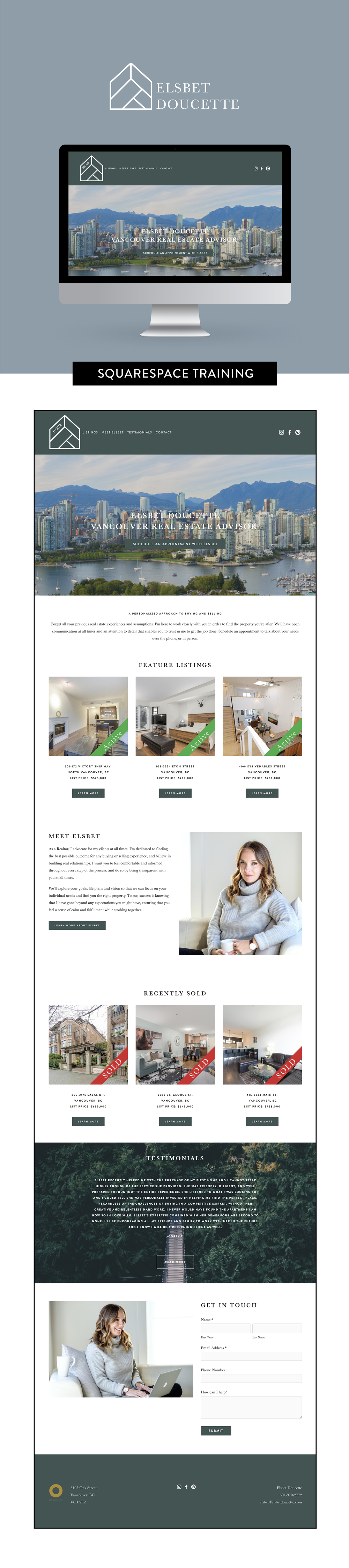 Squarespace design and training for Elsbet Doucette Real Estate Advisor by Salt Design Co. in Vancouver BC