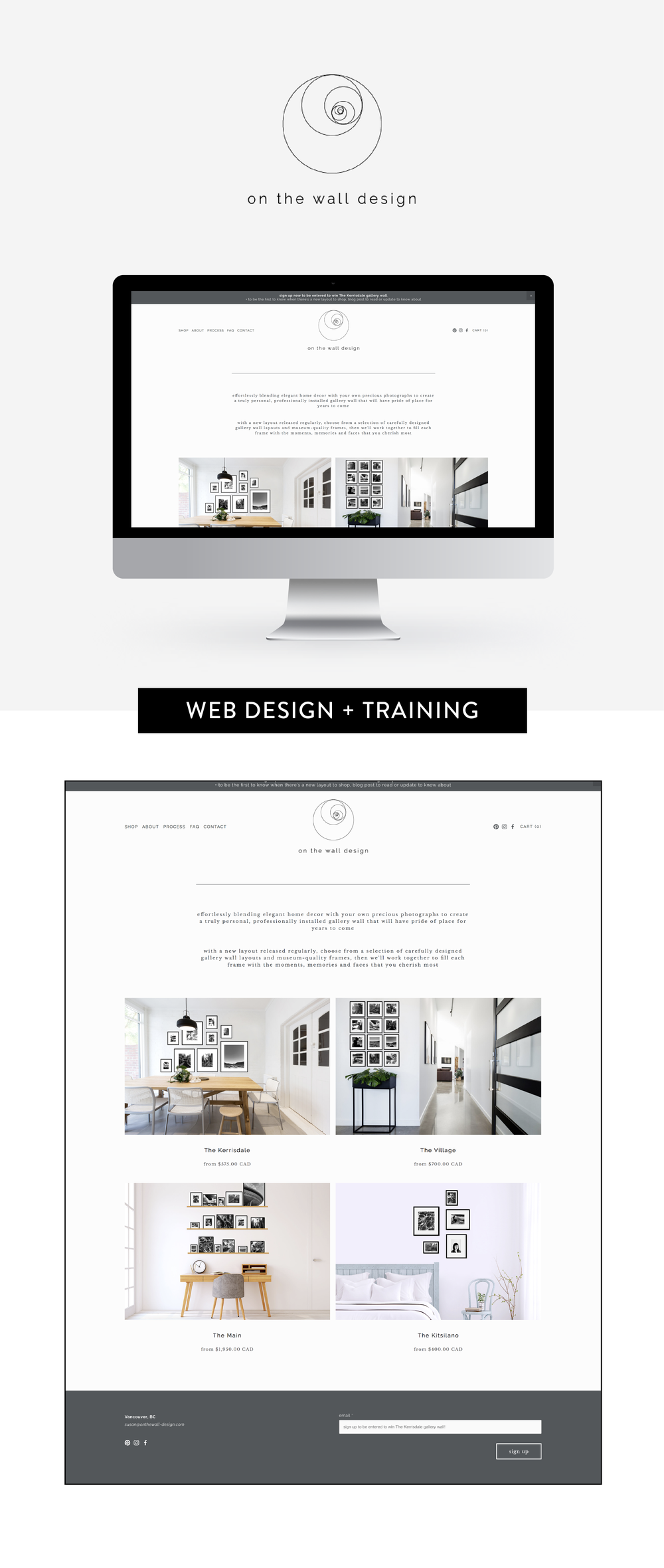 Squarespace design and training for On The Wall Design by Salt Design Co. in Vancouver BC