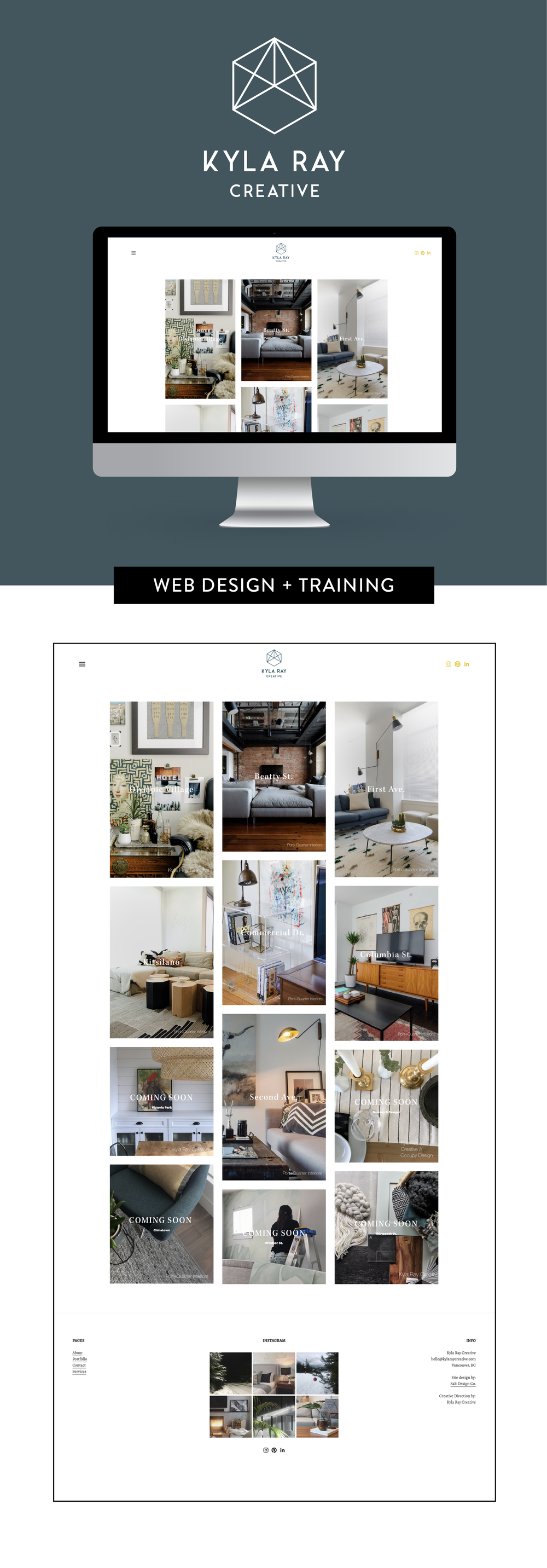 Squarespace web design and training for Kyla Ray Creative by Salt Design Co.