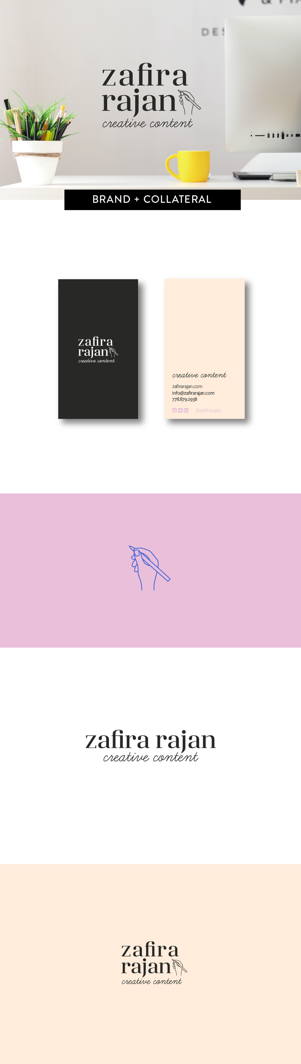 Brand Identity and print design for Zafira Rajan Communications by Salt Design Co.