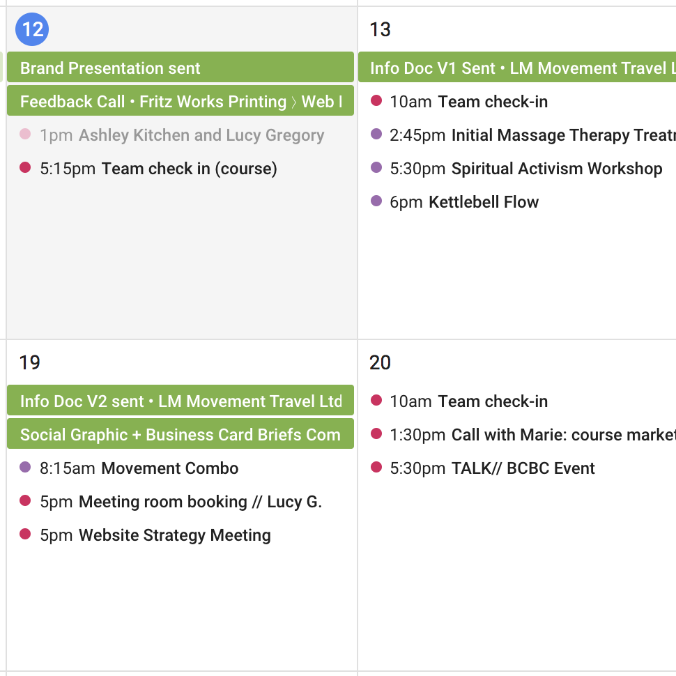 How those 17Hats events show up in my Google Calendar (the green events)