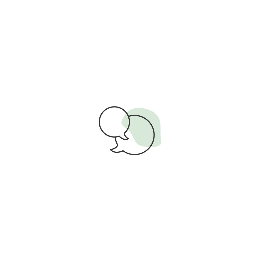 chat icon with a green splotch behind it