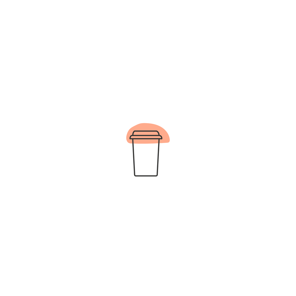 illustration of a coffee cup with an orange splotch behind it