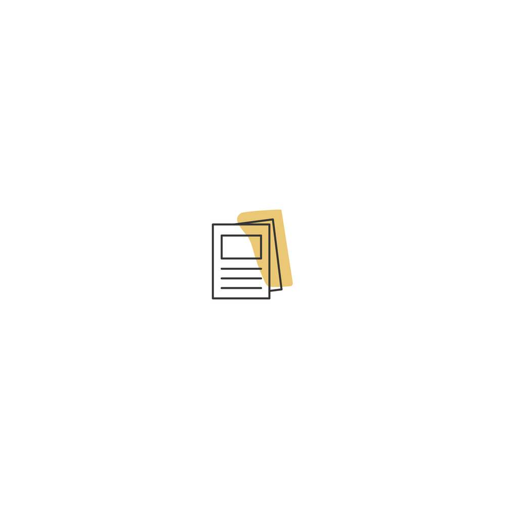 icon of a yellow blob behind paper