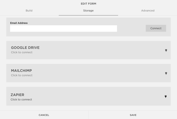 How to set the storage of the form.