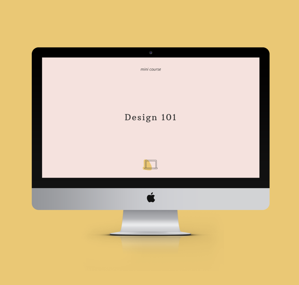 Graphic of an iMac on a yellow a background with the title of the online course Design 101
