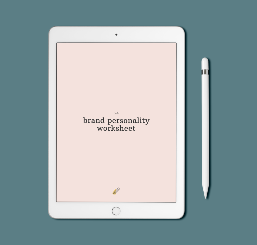 iPad mockup with the title Brand Personality Worksheet