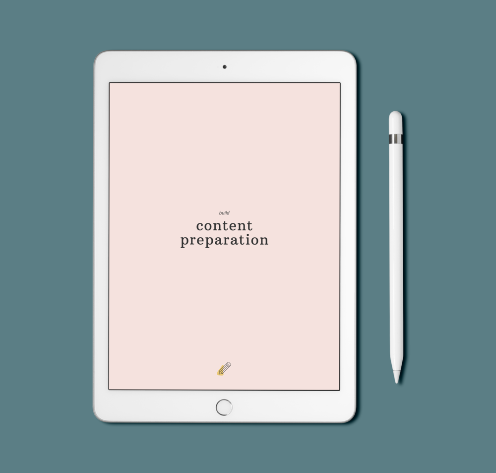 iPad mockup of the content preparation workbook on a blue background