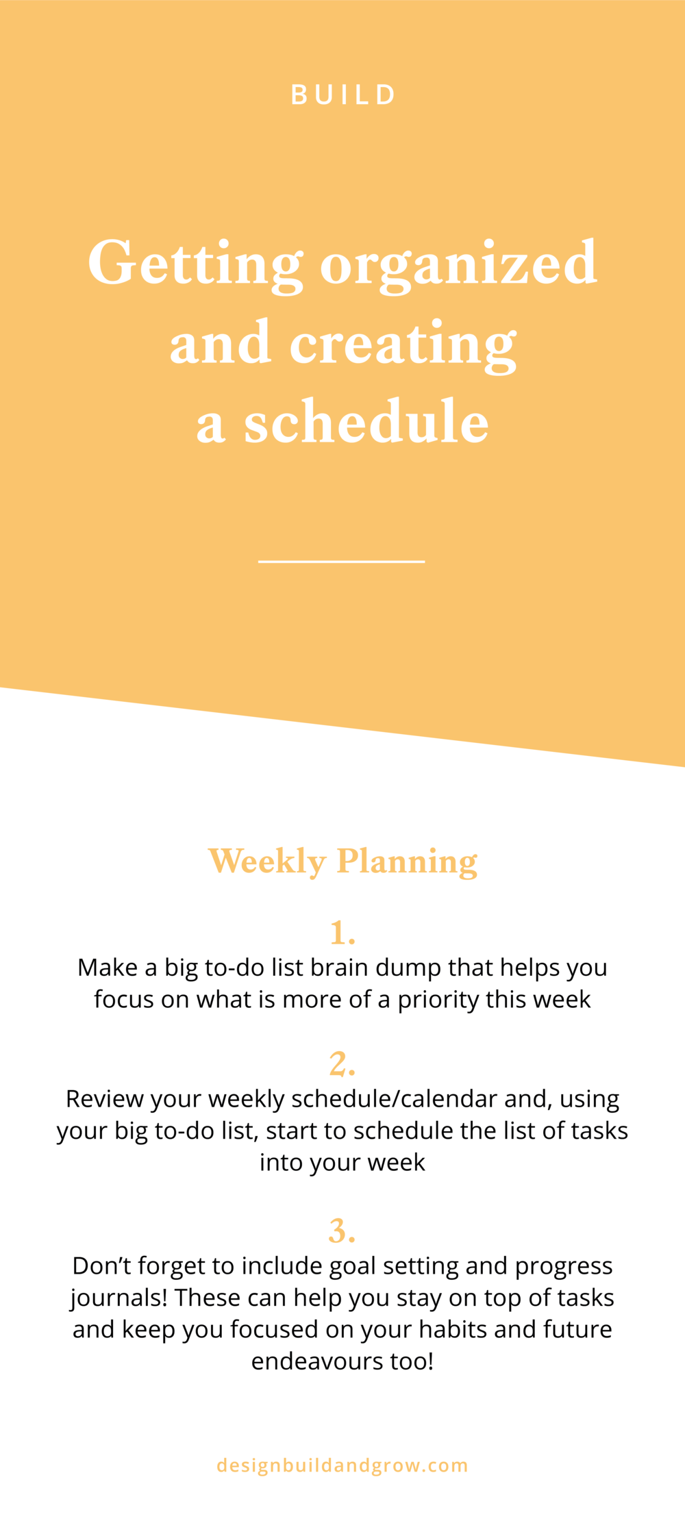 getting organized and creating a schedule