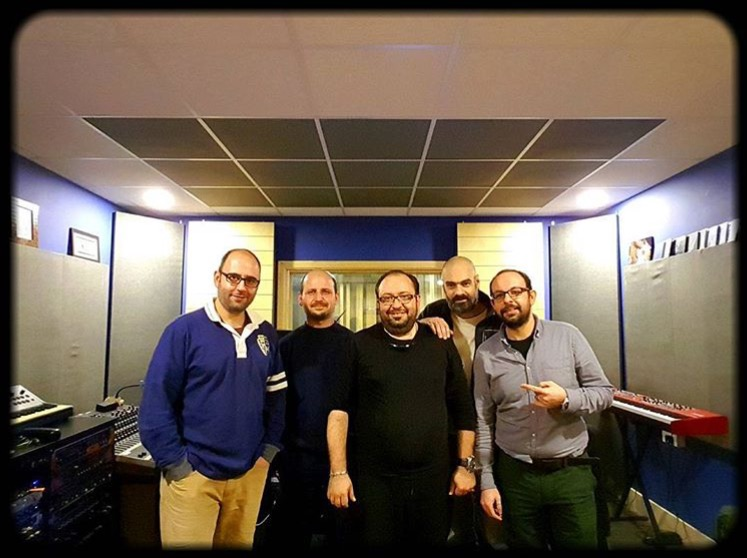 Paolo, Khatchik, Arthur, Jean, and Khalil in the studio
