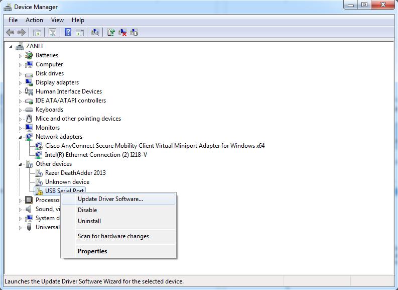 For Windows 7 64-bit: Download this FTDI driver