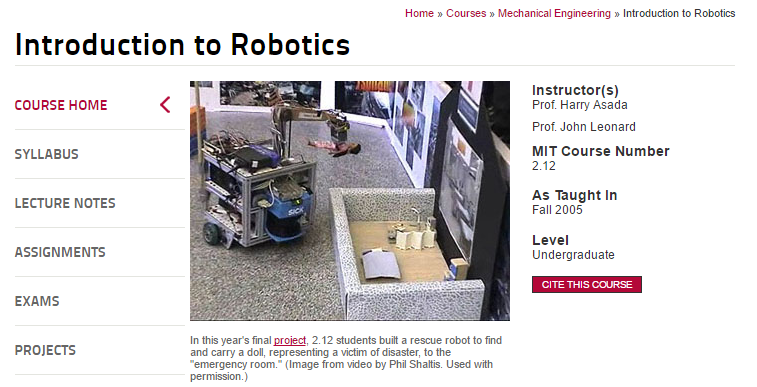 Introduction to Robotics from MIT Open Course