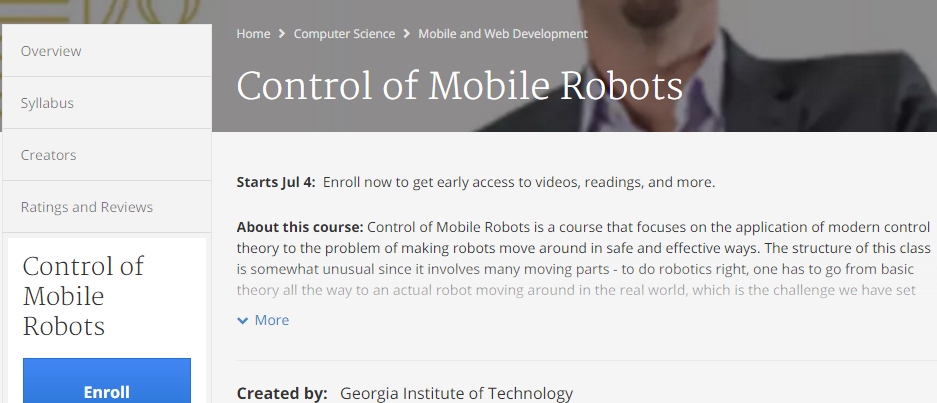 Control of Mobile Robots from Coursera