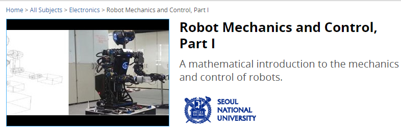 Robot Mechanics and Control from edX