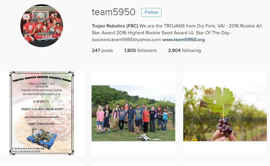 Follow Team 5950 in Instagram:  https://www.instagram.com/team5950/