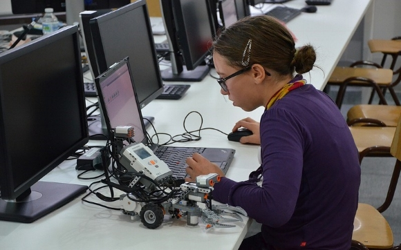 This student demonstrates the interconnectedness between robotics and coding. Each relies on the other.
