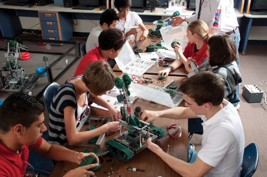Building the robot is important, but it is not the only thing that goes on in a robotics class. Lesson plans can cover the whole range of disciplines that go into a hybrid subject like robotics, from electronics to engineering.