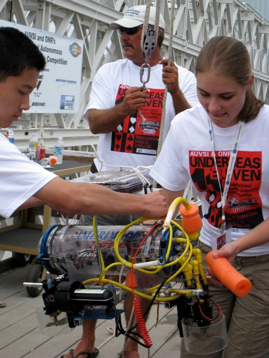 Robotics and engineering skills can be applied to many different situations. For example, this picture shows a robotic submersible.