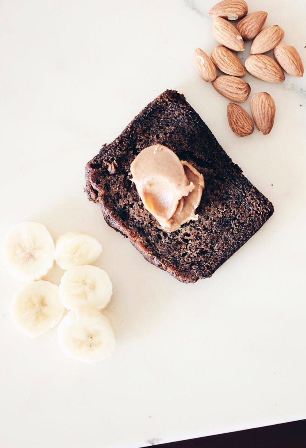 banana bread with peanut spread