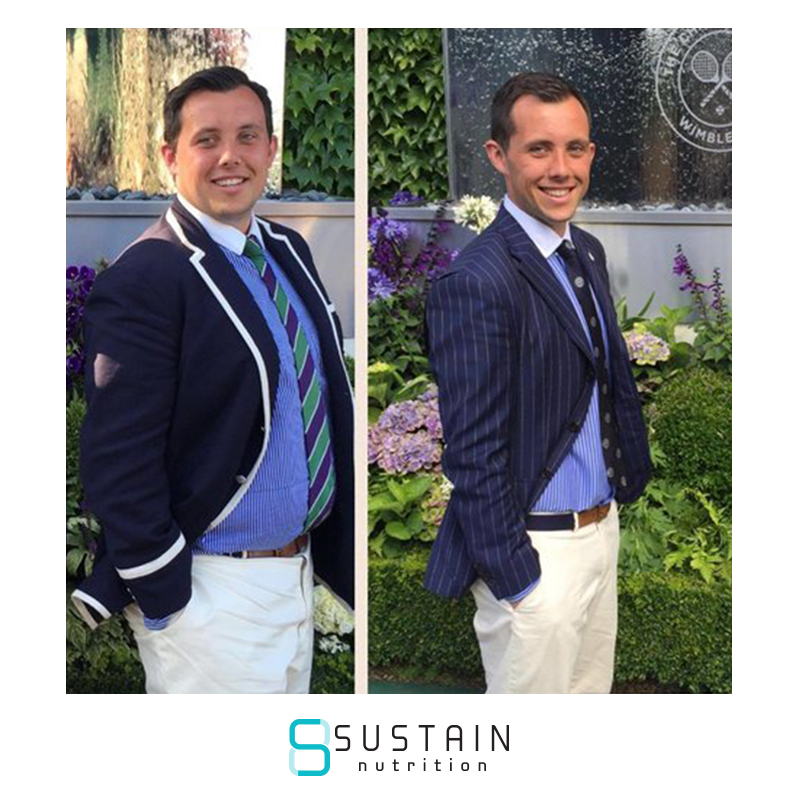 "Gavin - At the start of 2016 I was 19 stone and 7lbs and I felt awful. Every activity felt like a chore and I was aware I had gotten too big. As I struggled to find clothes that fit me in ""normal"" shops I was forced to turn to Jacamo. At this moment I realised that something needed to change. A friend suggested Sustain Nutrition, and after signing up to their ""12 Days of Fat Loss"" email chain I dropped 14 lbs in, ironically, 12 days. After their free 7 day trial I instantly knew this was a plan I could stick to for the designated 3 months and I signed up. Sustain gave me the accountability I needed, the thought process behind making healthy decisions, as opposed to choosing a chocolate bar and bottle of pop for lunch and having to tell Joe, my coach, was the deal breaker. Without a doubt, I'm 100% certain, it was this accountability and the Ten Commandments guidelines that have helped me achieve what I have. Now at 16'3, 46 lbs lighter than when I started, 4 jeans sizes and 3 t shirt sizes smaller, I feel great, I am now playing tennis 3 times a week and able to work hard. There hasn't been a day in the last fortnight where a friend of colleague hasn't complimented me on how I look and I'm now wearing a shirt I have owned, but not been able to fit, for the last 2 and a half years. At no point have I personally felt restricted on the plan. Joe often jokes about how I eat out more than anyone else he knows, I simply make the relevant choices that fit inside my Commandments which means I can still enjoy my life whilst making progress. It has been great working with Sustain, I have loved the positive feedback from the guys at Sustain. Joe and James's knowledge, and the accountability Sustain provides, has been of massive benefit and I would be no way near where I am now without Sustain"