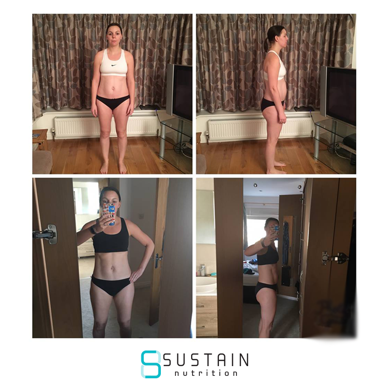 jackie - ''I had just completed the Bodycoach SSS plan and had been disappointed with my results especially as I had followed it very closely and found it very time consuming. In searching for something to move onto found Sustain Nutrition and thought I'd give the 7DT a go. I chose Evolve as I had been used to high fat/low carb plan and felt good on it. I was impressed with the professionalism from the get go. I even had a phone call from Joe to discuss my goals! I completed the 7DT and was keen to move on and ended up doing a total of 91 days with my coach Gagan. She was supportive, knowledgable and non-judgemental when I had a blip or two, and always managed to make me refocus on my end goal and why I had started the process originally. What is different about Sustain nutrition? The flexibility is fantastic, I feel armed with the knowledge to make good decisions when socialising or at the dreaded buffet table, accountable for my actions and best of all there is not the vast amount of prepping and weighing food that was making it a chore rather than a choice. So although I reached my goal weight and size 10 trousers, I feel that this is just the beginning of a journey that I feel ready for with my new online support family.''