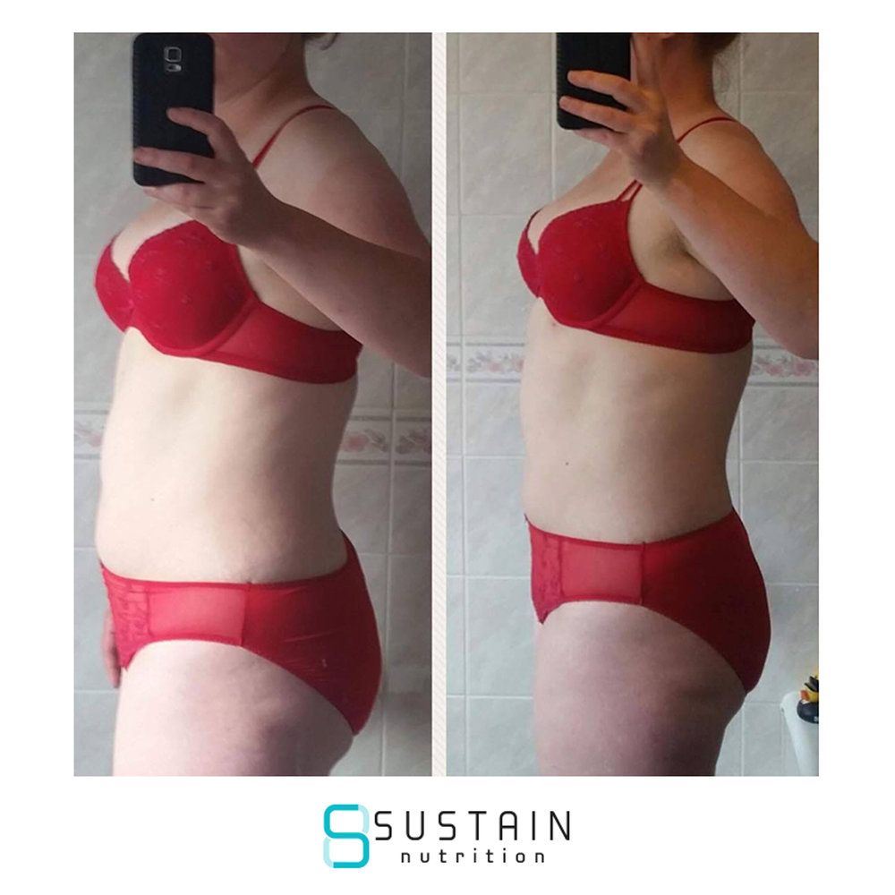 sandra - 'I'd previously attempted the body coach plan and although I was pleased with my results it took me 8mths to reach the end of C2 and C3 just didn't happen. It was hard going and didn't really feel like it taught me how to continue afterwards. So I found myself back where I started and even more unhappy when I came across sustain. Just 5 short weeks of sustain later I'm back where I was measurements wise at the end of C2 and it's felt so easy. My clothes fit again and I feel so much more positive about life. More importantly I feel I have learnt how to make sensible choices and how to fuel my body best for me. The coaches, particularly Gagan, have always been supportive even when I've made bad choices they have helped me see how to avoid it happening again rather than reprimanding me.I'm going to go and try and go it alone for now but it's reassuring to know that should I need it help is only an email away