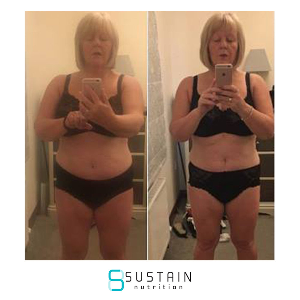 irene - I am 57 years old and I have yoyo dieted since I was 21. I have tried every diet/ eating plan under the sun even hypnotherapy and always had very short term results. Nothing I could Sustain for very long. I've got several medical conditions including an under active thyroid and am on HRT so I always found an excuse for why I wasn't successful. Having found Sustain Nutrition - I am in heaven. I love the food, I love the support and I feel in control. I've lost 14lbs in 5 weeks, so I'm well chuffed. I haven't been 100% on plan all of the time but when I've gone off plan it's been a conscious decision to go off plan and I've been in control. I haven't exercised much due to working 12 hour shifts, Nana duties and spending time with my mum, so going forward I want to increase my exercise and get the next stone off. I can't tell you how much better I feel and how much less bloated I feel. Thanks to Joe M for reading my diaries and supporting me at the start of my long journey