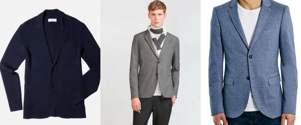 1.  The Luxe Sweater Blazer, Everlane  | 2.  Flannel Suit Blazer, Zara  | 3.  Skinny Jersey Blazer, Topman at Nordstrom