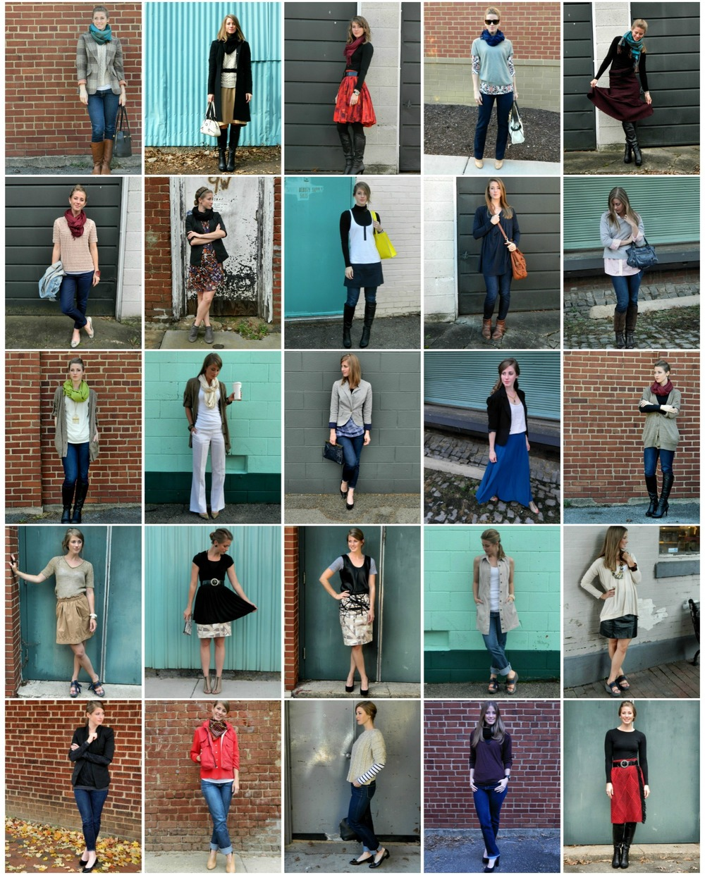 Outfits from 2013 comprised entirely of already owned or second hand pieces.