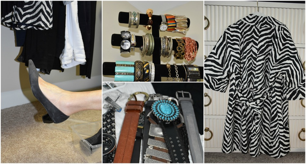 Shoes with a funky heel, statement bracelets and belts, and a great zebra trench!
