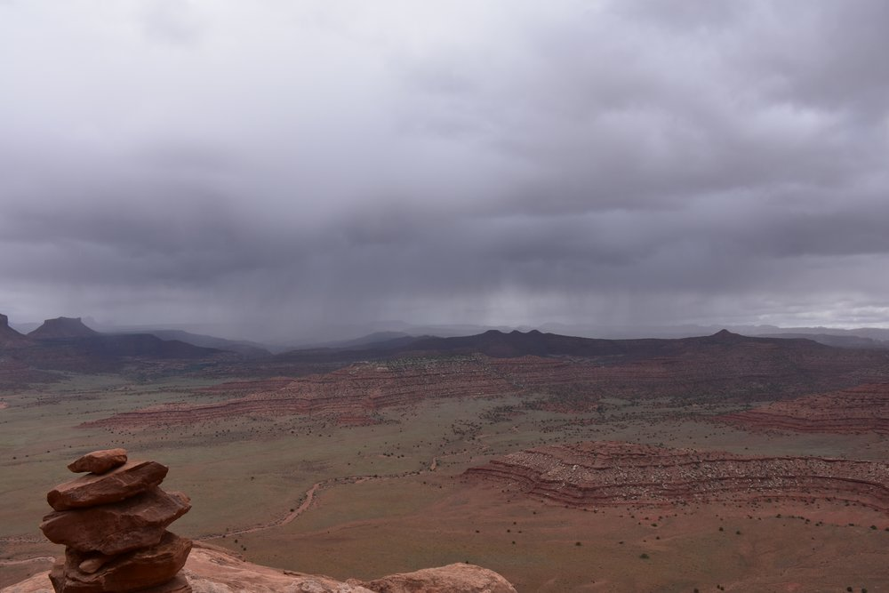 Incoming rain storm, view from South Six Shooter base