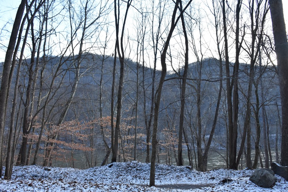 Snowy view from the Brooklyn campground, overlooking a portion of the New River, December 2015.