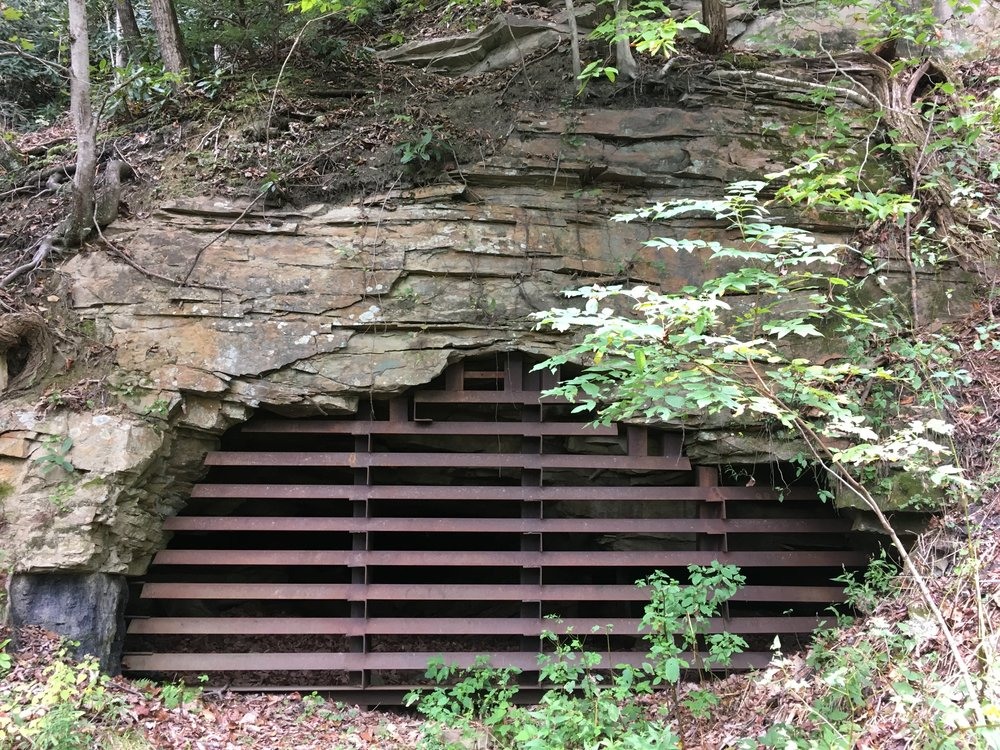 Entrance to the old mine shaft.