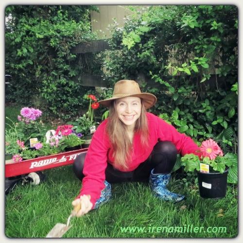 gardening squat malasana flowers irena