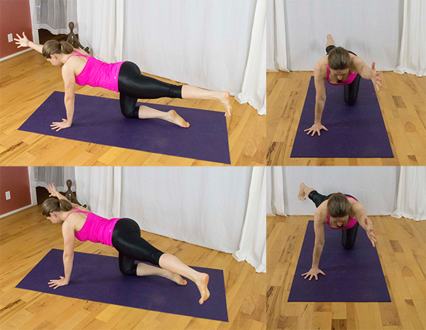 Strengthen wrists, core, and back with bird dog.  www.irenamiller.com
