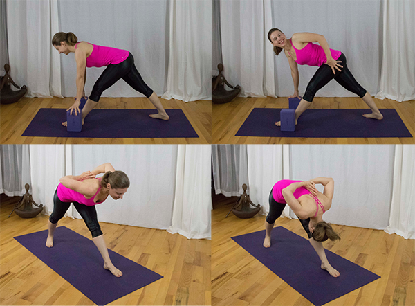 Release tight hamstrings, strengthen upper back, release tight IT band, open tight calves, strengthen core. www.irenamiller.com