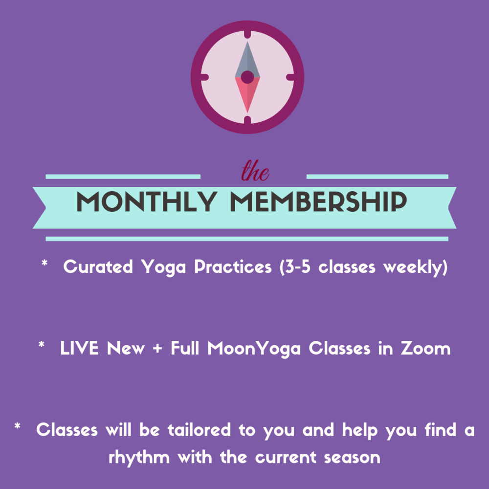 Yoga Club - Live Yoga Classes with Moon Cycles. curated yoga practice! www.irenamiller.com/yoga-club