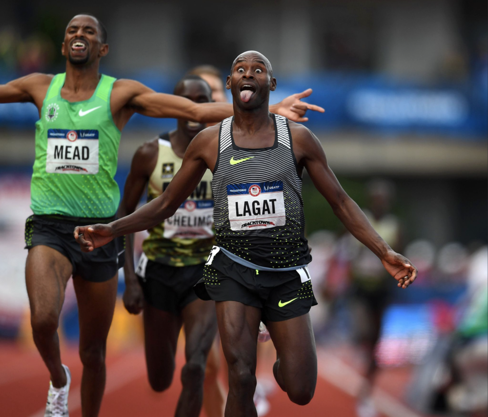 Bernard Lagat, 41, celebrates after winning the men's 5,000-meter final. His win came after failing to finish the 10,000-meter final eariler at the trials.